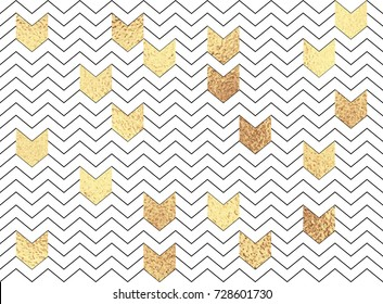 Vector geometric zig zag seamless pattern with gold and black chevron on white background.