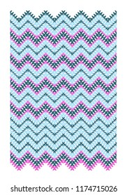Vector geometric zigzag pattern in pink and blue tones
