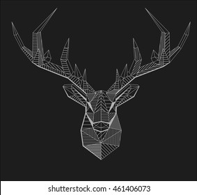 Vector geometrical stag reindeer illustration. Low poly line art. Geometric zentangle animal. Ornamental deer head. Vector element for Christmas designs and print.