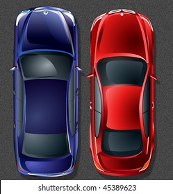 Vector german cars. Top view.