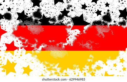 Vector German grunge flag. Using for decoration works. Vector Deutsch grunge flag.