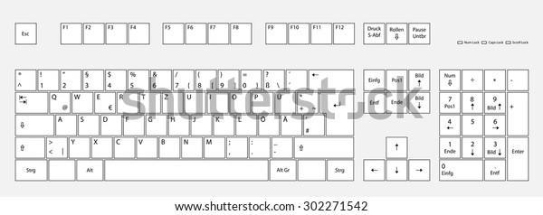 Vector German Keyboard Layout Deutsch