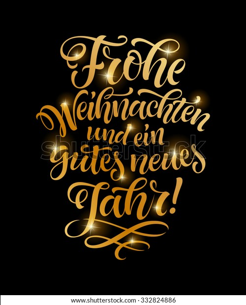 Frohe Weihnachten Und Ein Gutes Neues Jahr Holländisch.Vector German Merry Christmas Golden Text Stock Vektorgrafik