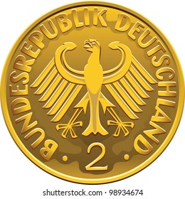 vector Germany Money gold coin two marks with heraldic eagle isolated on a white background