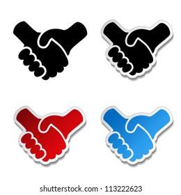Vector gesture hand - handshake symbol, cooperation sticker