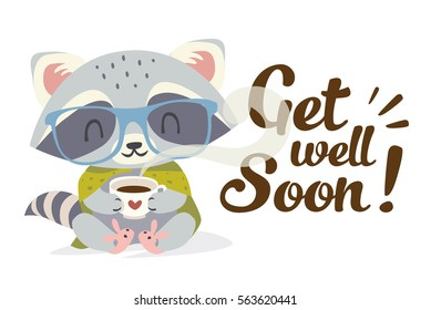 vector get well soon illustration with raccoon in cartoon style