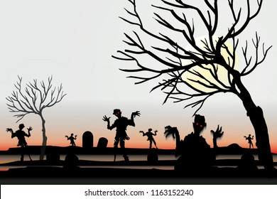 vector ghost in the graveyard on sunset background