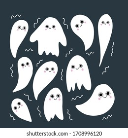 Vector ghost illustration.  Characters with cute faces. Cartoon doodle illustration. For Halloween card,poster.
