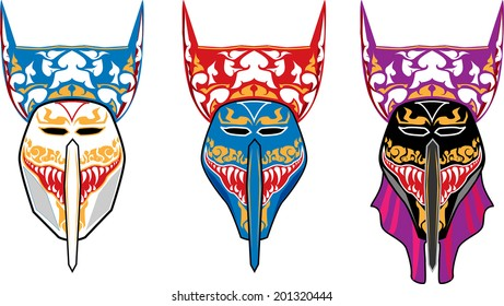 Vector Ghost mask on white background in Ghosh Mash Festival Phi Ta Khon festival at Loei Province,Thailand