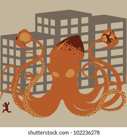 Vector Giant Squid Rampaging Through a Populated City (Orange)