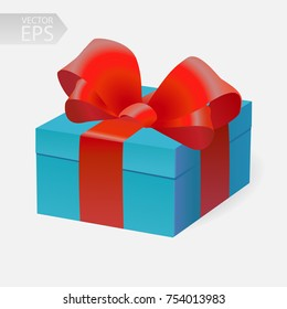 Vector gift in 3D style. Blue box with a red ribbon.