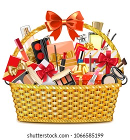 Vector Gift Basket with Makeup Cosmetics isolated on white background