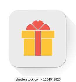 vector gift box icon. Flat illustration of birthday present. giftbox isolated on white background. gift box symbol