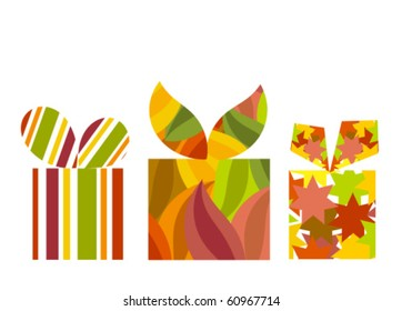 Vector gift boxes with various pattern in autumnal colors