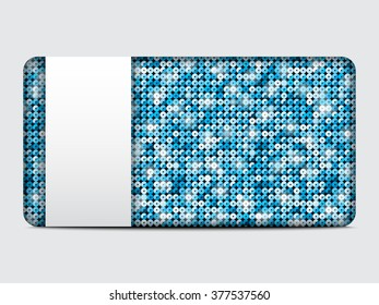 Vector gift card with abstract mosaic blue sequins background. Eps 10.