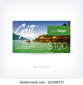 Vector gift card design template with blurred photographic background
