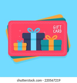 Vector gift card in flat style - shopping certificate with present icons