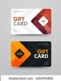 Vector gift card template with polygonal bronze and gold elements. The design is black and white with an arrow and a rhombus for denomination.