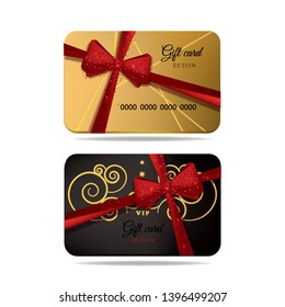 Vector gift cards, gold and dark with red bow ribbon, on the white background.
