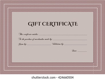 Vector Gift Certificate. Customizable, Easy to edit and change colors. With complex background. Excellent design.