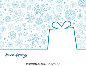 Vector gift illustration with snowflake background