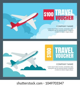 Vector gift travel voucher template. 3d isometric  illustration of flying airplane. Concept for summer vacation, travel agency and sale ticket. Banner, coupon, certificate, flyer, ticket layout