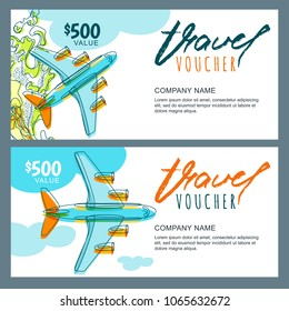 Vector gift travel voucher template. Top view hand drawn flying airplane. Concept for summer vacation, travel agency and sale ticket. Banner, coupon, certificate, flyer, ticket layout.