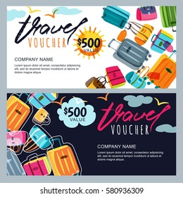 Vector gift travel voucher template. Multicolor luggage, suitcase, bags background. Concept for summer vacation and travel agency. Banner, shop coupon, certificate or flyer layout.