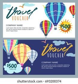 Vector gift travel voucher template. Multicolor hot air balloons in the sky. Concept for summer vacation, travel agency and sale ticket. Banner, coupon, certificate, flyer, ticket layout.