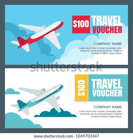 Vector Gift Travel Voucher Template 3 D Stock Vector Royalty Free