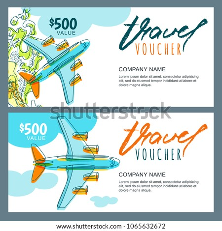 Vector Gift Travel Voucher Template Top Stock Vector Royalty Free