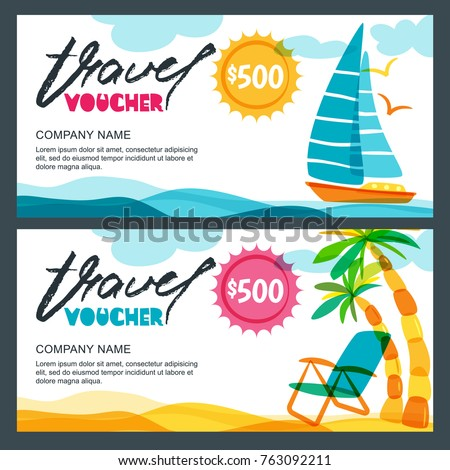 Vector Gift Travel Voucher Template Tropical Island Yacht Sailing Boat And Palms Illustration