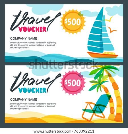Vector Gift Travel Voucher Template Tropical Image Vectorielle De
