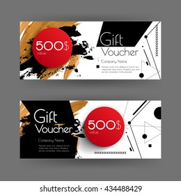 Vector gift voucher with abstract background. Golden brush stroke, dots, line and red circle. Business card template. Design concept for boutique, shop, beauty salon, spa, fashion, invitation.