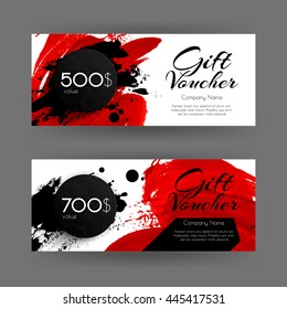 Vector gift voucher with abstract background. Red brush stroke  and black circle. Business card template. Design concept for boutique, shop, beauty salon, spa, fashion, invitation.