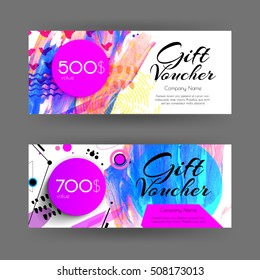 Vector gift voucher with abstract background. Brush stroke with different textures and shapes. Business card template. Design concept for boutique, shop, beauty salon, spa, fashion, invitation.