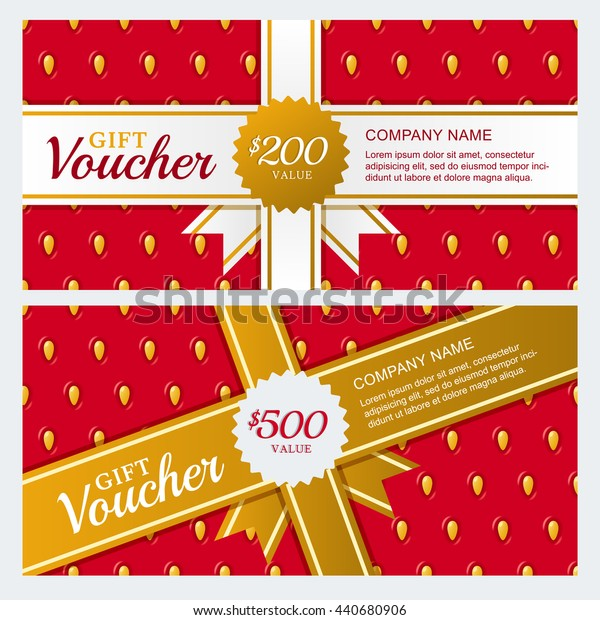 Vector gift voucher or business card template. Summer design with strawberry texture background. Concept for beauty salon, market, flyer, gift coupon, invitation, banner design.