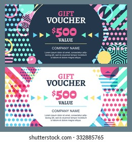 Vector gift voucher with colorful geometric pattern and round frame. Business card template. Abstract creative background. Concept for boutique, fashion shop, accessorize, flyer, banner design.