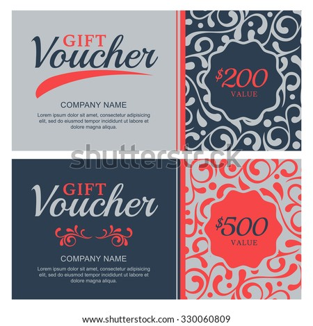 Vector Gift Voucher Flourish Ornament Background Stock Vector