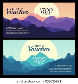 Vector gift voucher with mountain landscape view. Business card template. Nature background. Abstract design concept for flyer, banner, travel, tourism or ecology theme.
