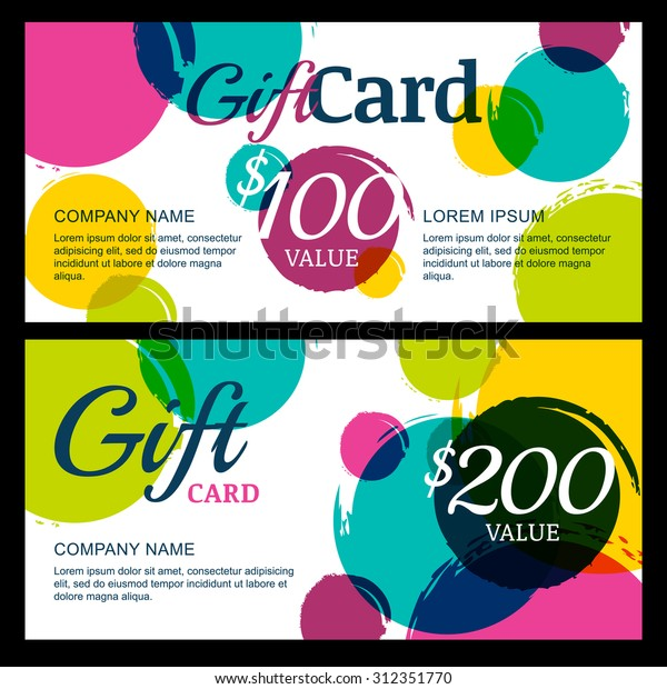 Vector Gift Voucher Template Abstract Watercolor Stock