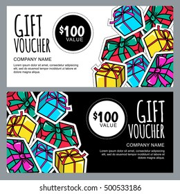 Vector gift voucher template with gift box patches and stickers. Christmas or New Year holidays cards in 80s, 90s comic style. Design concept for gift coupon, invitation, certificate, flyer, banner.