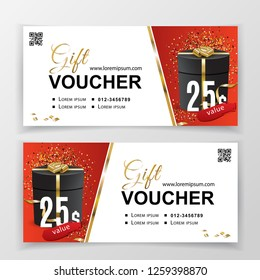 Vector gift voucher template for department stores, business. Clean vector design, black gold design elements. on white red background. 25 dollars.