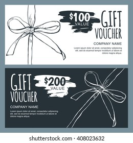 Vector gift voucher template with hand drawn outline bow ribbons. Black and white doodle holiday cards. Design concept for gift coupon, invitation, certificate, flyer, banner, ticket.