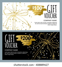 Vector gift voucher template with hand drawn bow ribbons. Golden, black and white doodle holiday cards. Design concept for gift coupon, invitation, certificate, flyer, banner, ticket.