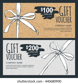 Vector gift voucher template with hand drawn bow ribbon and craft paper texture. Vintage cardboard holiday cards. Design concept for gift coupon, invitation, certificate, flyer, banner, ticket.