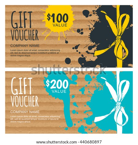 vector gift voucher template hand drawn bow ribbon and craft cardboard with watercolor stains