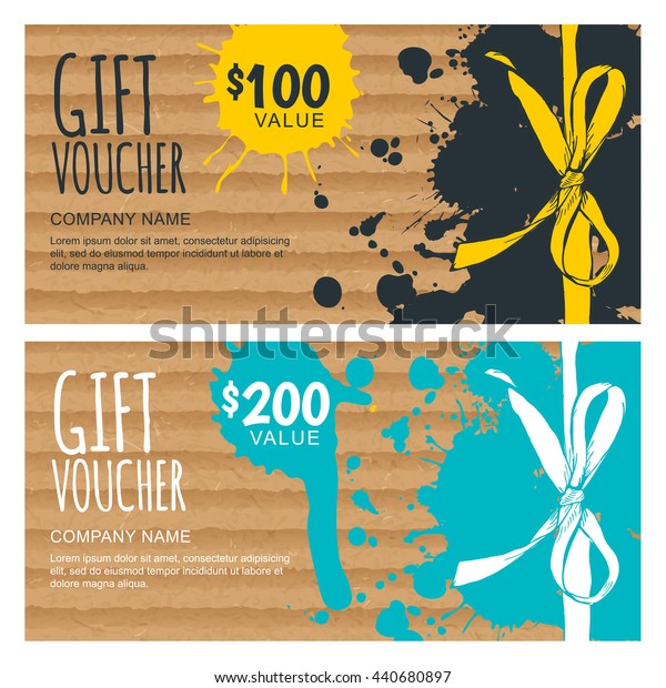 Vector gift voucher template. Hand drawn bow ribbon and craft cardboard with watercolor stains. Holiday cards on vintage paper. Design for gift coupon, invitation, certificate, flyer, banner.