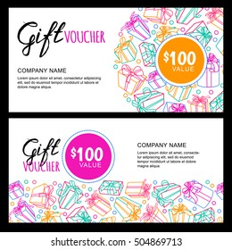 Vector gift voucher template with outline multicolor gift box, ribbons and calligraphy. Christmas or New Year holidays cards. Design concept for gift coupon, invitation, certificate, flyer, banner.