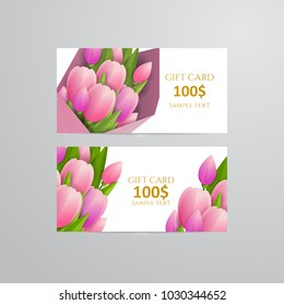 Vector gift voucher template with tulip flowers.